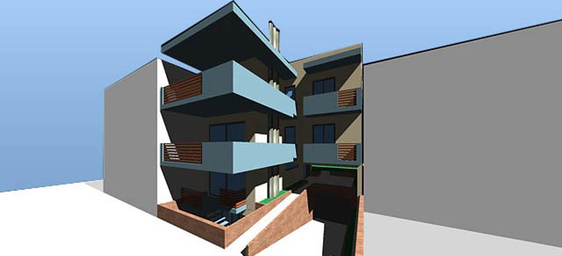 Τριώροφο κτίριο κατοικιών σε pilotis με υπόγειο χώρο στάθμευσης, Ίλιον