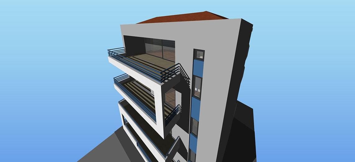 Τετραώροφο κτίριο κατοικιών σε pilotis με υπόγειο χώρο στάθμευσης, Λάρισα